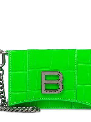 Zielona kopertówka skórzana Balenciaga