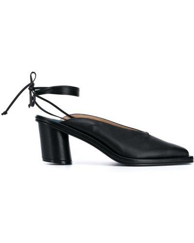 Массивные черные кожаные туфли с квадратным носком из овчины Reike Nen