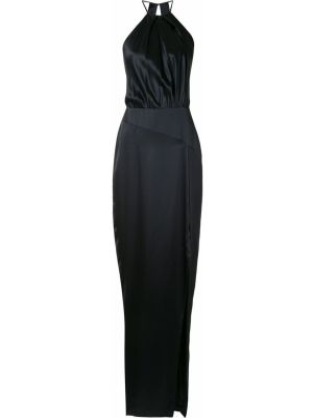 Приталенное шелковое платье макси с открытой спиной на бретелях Michelle Mason