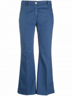 Хлопковые синие укороченные брюки стрейч Incotex