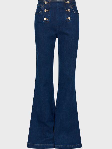 Хлопковые синие джинсы на пуговицах Luisa Spagnoli