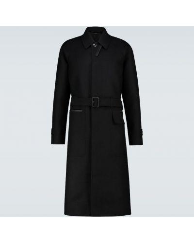 Wyposażone czarny wełniany długi płaszcz wojskowy Tom Ford