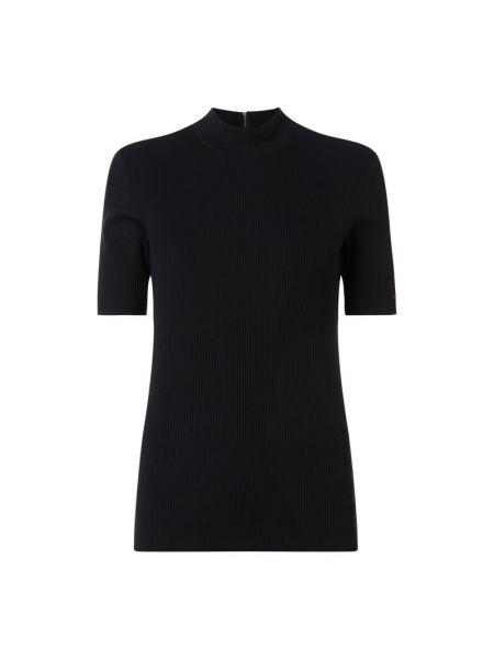 Czarna bluzka z haftem z wiskozy Hugo
