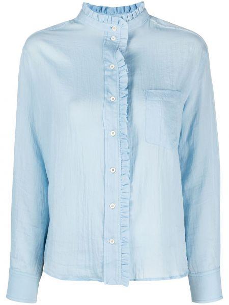 Хлопковая с рукавами синяя блузка Masscob