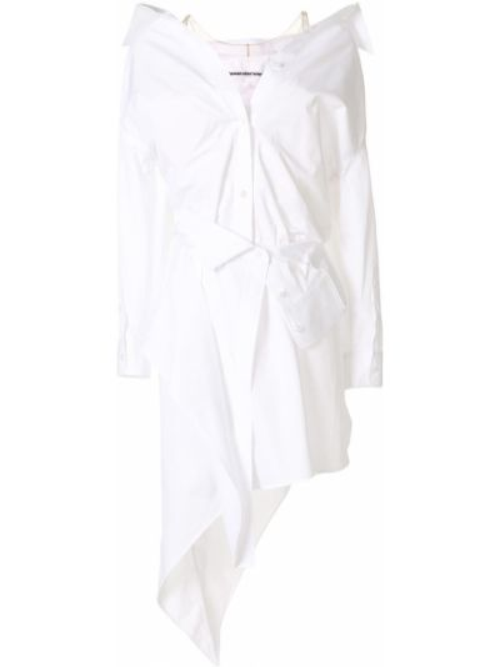 Biały bawełna asymetryczny długo sukienka z długimi rękawami Alexander Wang