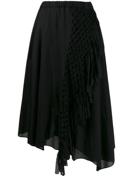 Хлопковая юбка миди - черная Zucca