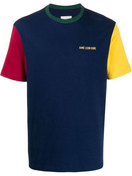 Niebieski t-shirt z haftem krótki rękaw Aime Leon Dore