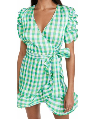 Зеленое платье с декольте с подкладкой Tanya Taylor