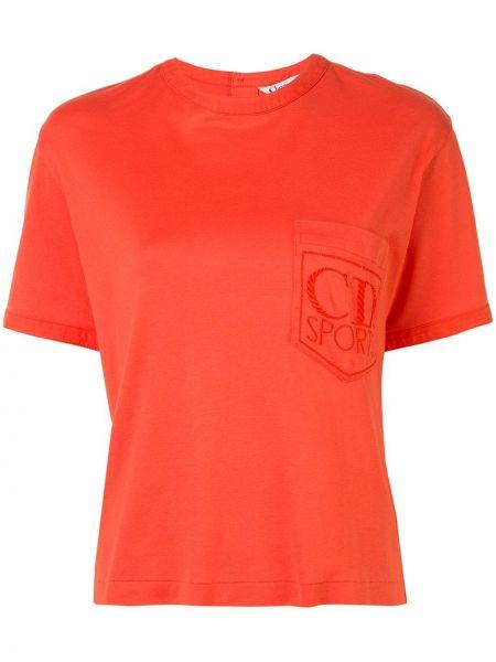 Pomarańczowy t-shirt bawełniany z haftem Christian Dior