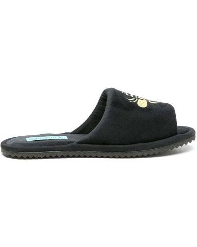 Бархатные черные слиперы с вышивкой Blue Bird Shoes