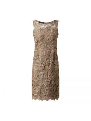 Beżowa sukienka koktajlowa koronkowa bez rękawów Apart Glamour