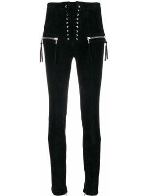 Кожаные черные брюки с высокой посадкой на шнуровке Unravel Project