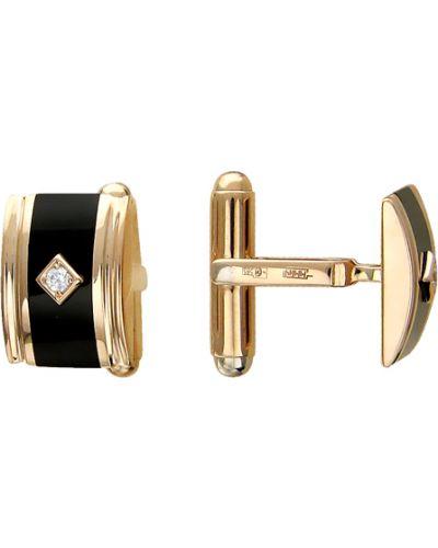 Запонки с ониксом из золота эстет