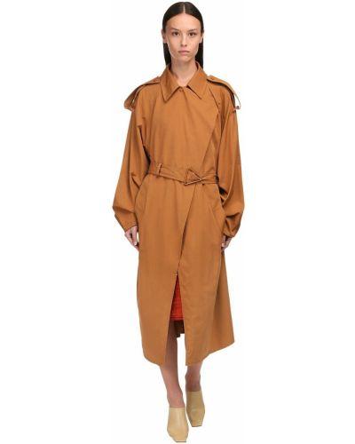 Z rękawami bawełna płaszcz z kołnierzem z kieszeniami Bottega Veneta