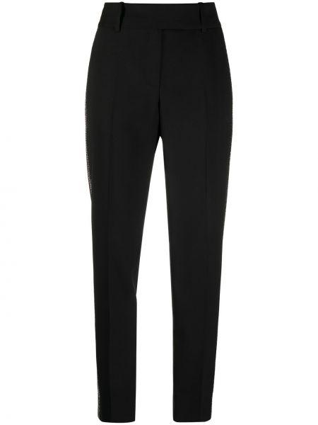 Черные прямые брюки с пайетками с высокой посадкой Ermanno Scervino