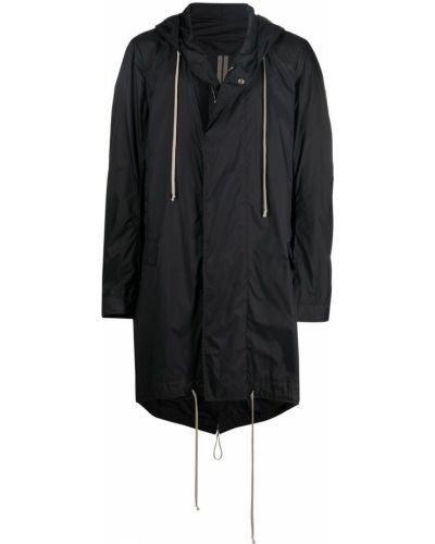 Czarny długi płaszcz z kapturem z długimi rękawami Rick Owens Drkshdw