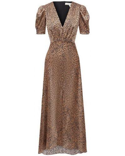 Коричневое шелковое платье с подкладкой Saloni