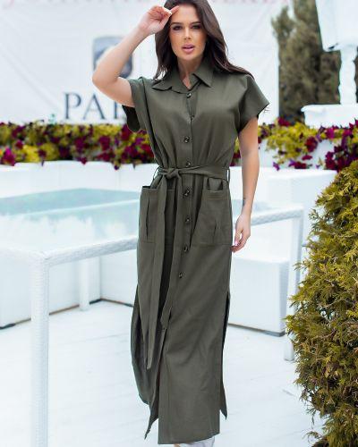 Льняное зеленое платье-рубашка сафари Rozetka