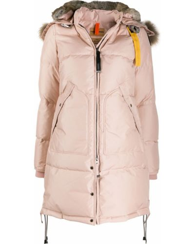 Розовое пуховое длинное пальто с капюшоном Parajumpers