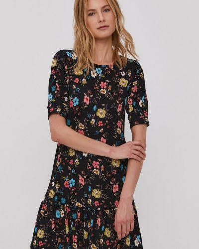 Czarna sukienka mini w kwiaty rozkloszowana Jacqueline De Yong