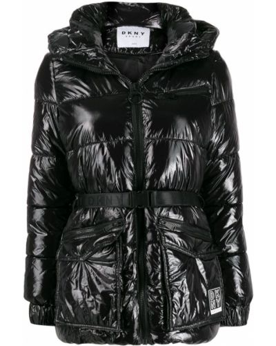 Прямая черная длинная куртка с поясом Dkny