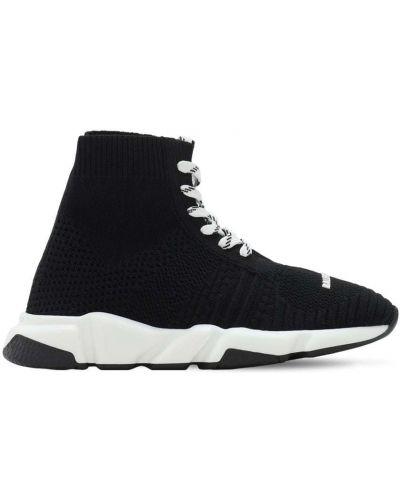 Ażurowy czarny sneakersy na sznurowadłach przycięte Balenciaga