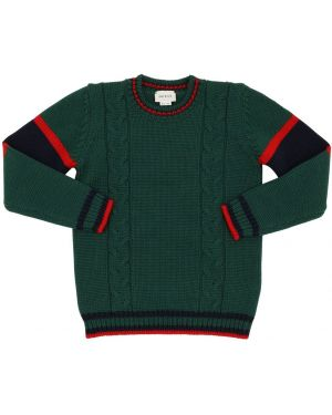 Zielony sweter wełniany w paski Gucci