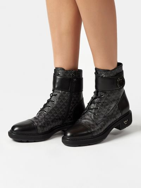 Кожаные ботинки - черные Emporio Armani