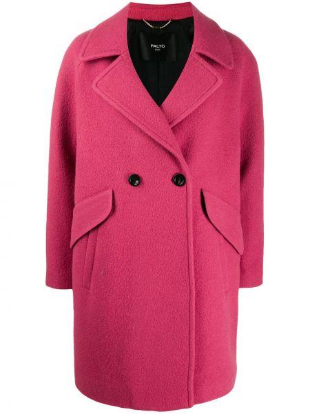 Różowy płaszcz wełniany Palto