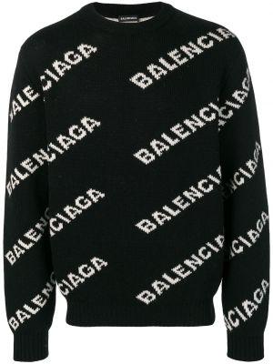 Czarny sweter wełniany z długimi rękawami Balenciaga