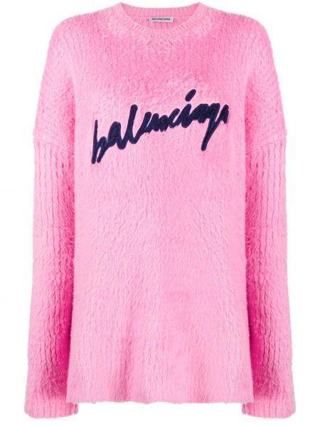 Bawełna różowy bluza z haftem z długimi rękawami Balenciaga