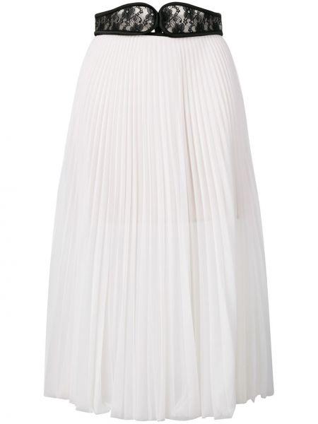 Плиссированная белая с завышенной талией плиссированная юбка с поясом Christopher Kane