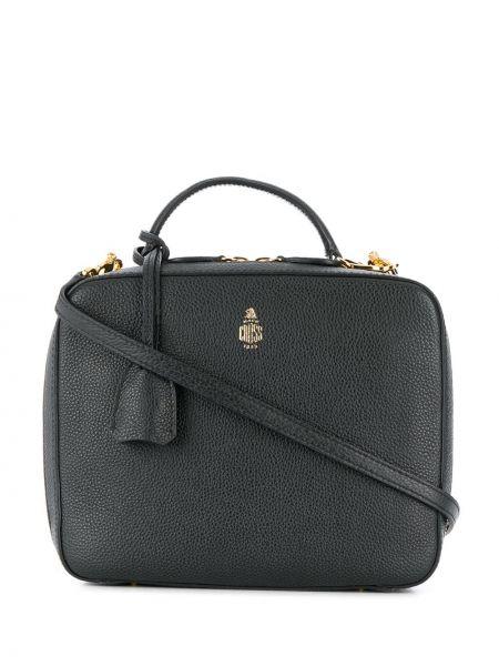 Золотистая черная сумка через плечо с перьями на молнии Mark Cross