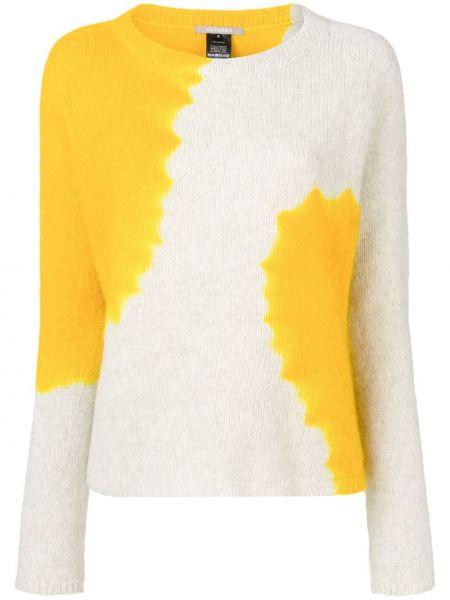 Кашемировый желтый тонкий свитер с круглым вырезом Suzusan