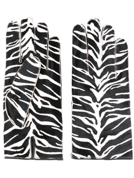 Czarne rękawiczki skorzane z printem Raf Simons