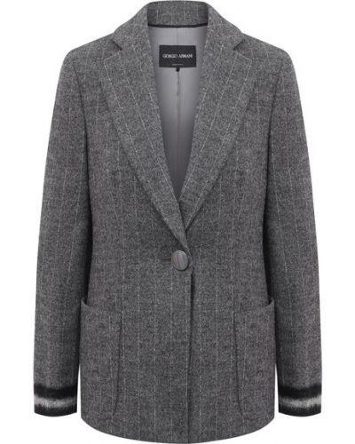 С рукавами серый удлиненный пиджак из альпаки с подкладкой Giorgio Armani