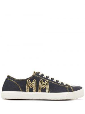 Хлопковые синие кеды на шнуровке Maison Margiela
