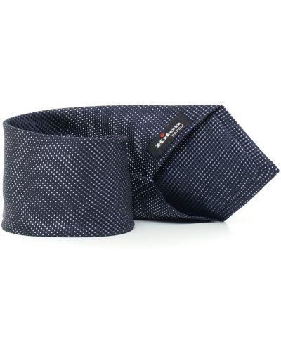 Niebieski krawat z jedwabiu z printem Kiton