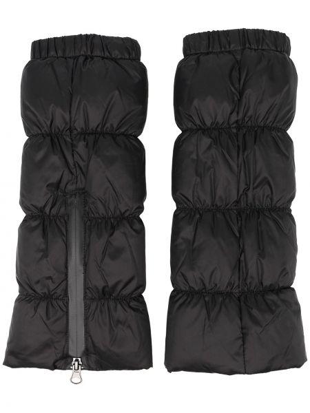 Черные перчатки без застежки с перьями Rundholz
