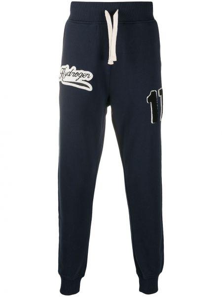 Niebieskie spodnie bawełniane z haftem Hydrogen