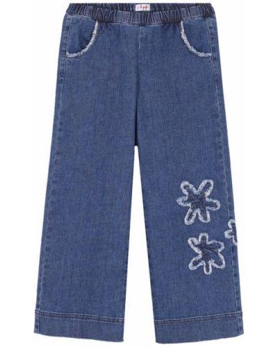 Укороченные джинсы свободные на резинке с аппликацией Il Gufo