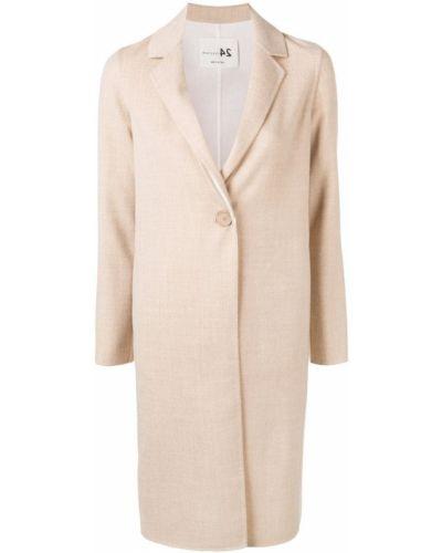 Однобортное длинное пальто с капюшоном на пуговицах Manzoni 24