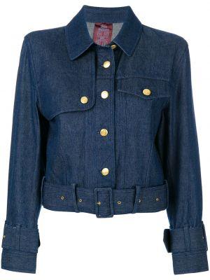 Синяя джинсовая куртка с поясом винтажная John Galliano Pre-owned