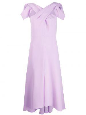 Шелковое платье миди - фиолетовое Delpozo