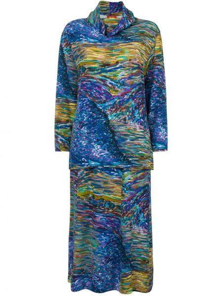 Ажурная прямая синяя юбка макси винтажная Kenzo Pre-owned