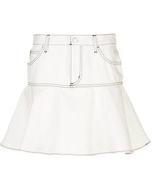 Однобортные белые джинсовые шорты с карманами со стразами Opening Ceremony