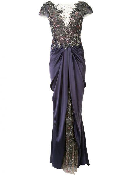 Синее вечернее платье из фатина с вышивкой с драпировкой Marchesa
