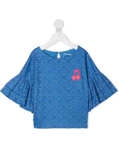 Кружевная блузка с короткими рукавами с вышивкой Mini Rodini