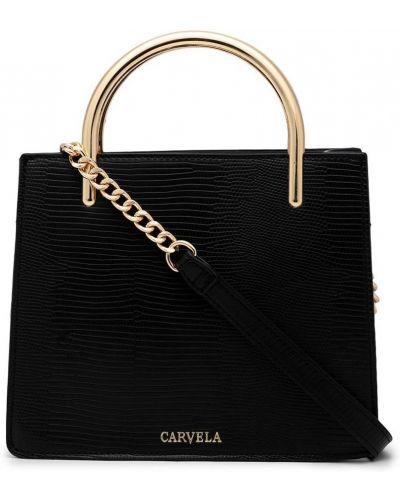 Черная кожаная сумка через плечо на молнии Carvela