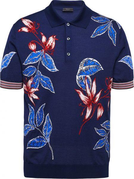 Koszula krótkie z krótkim rękawem z kołnierzem z kwiatowym nadrukiem Prada